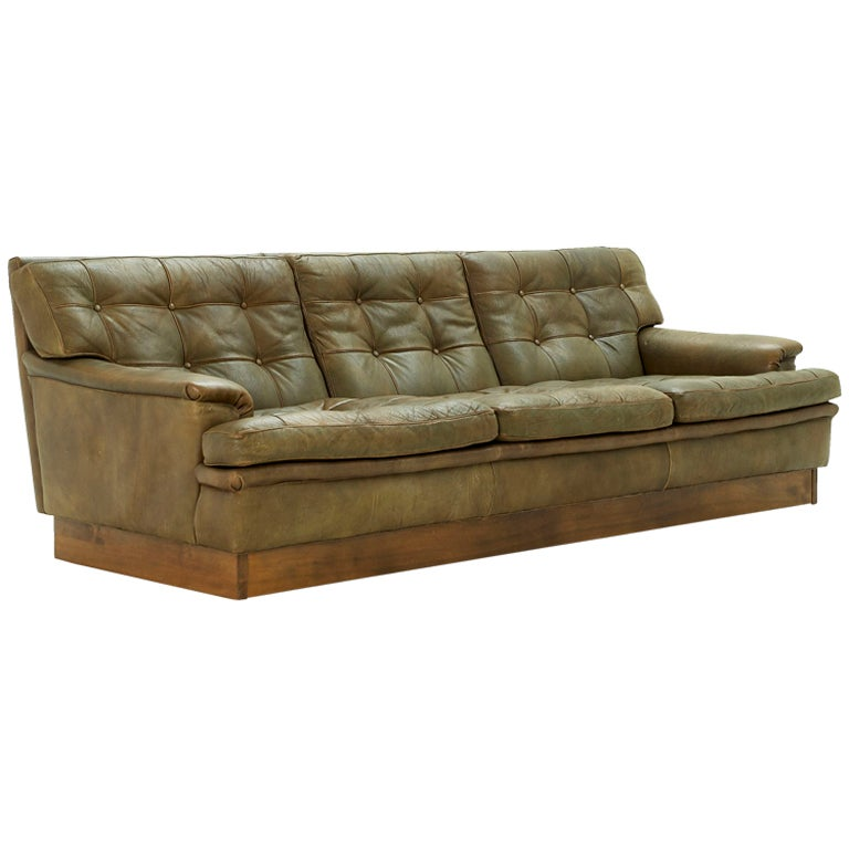 Sectional Sofa Olive Green: Olive Green Leather Tufted 3 Seater Sofa At