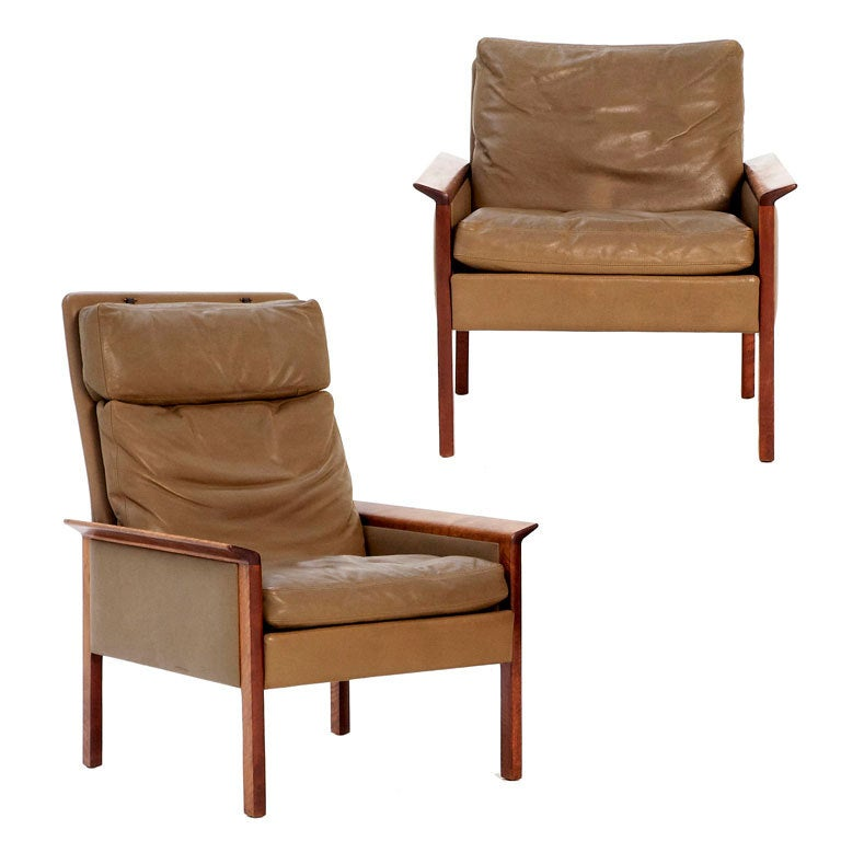 Pair Of Danish Lounge Chairs In Excellent Olive Leather H