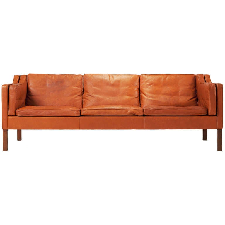 cognac leather sofa by borge mogensen at 1stdibs. Black Bedroom Furniture Sets. Home Design Ideas