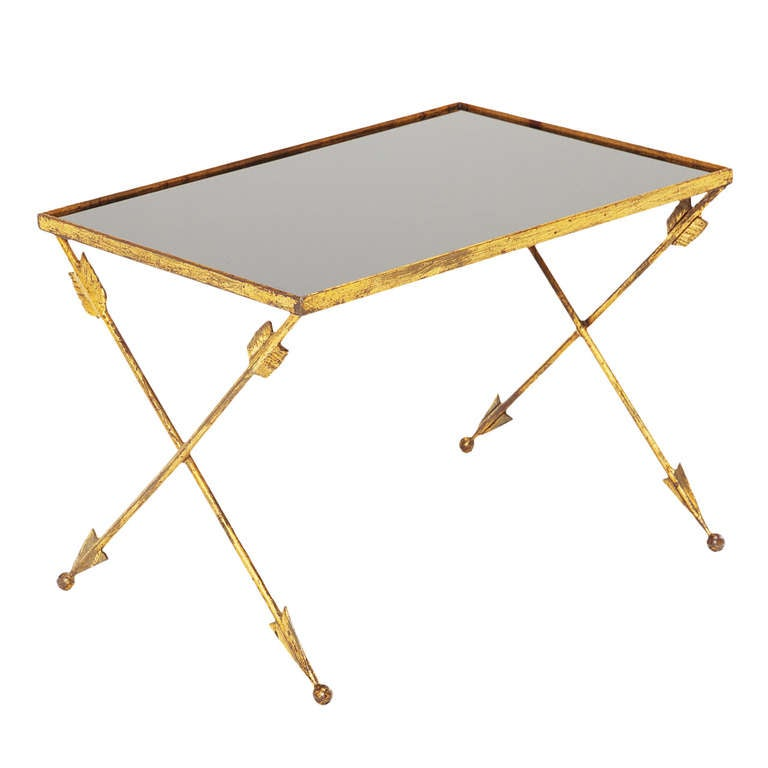 French Brass Guilt 'arrow' Table