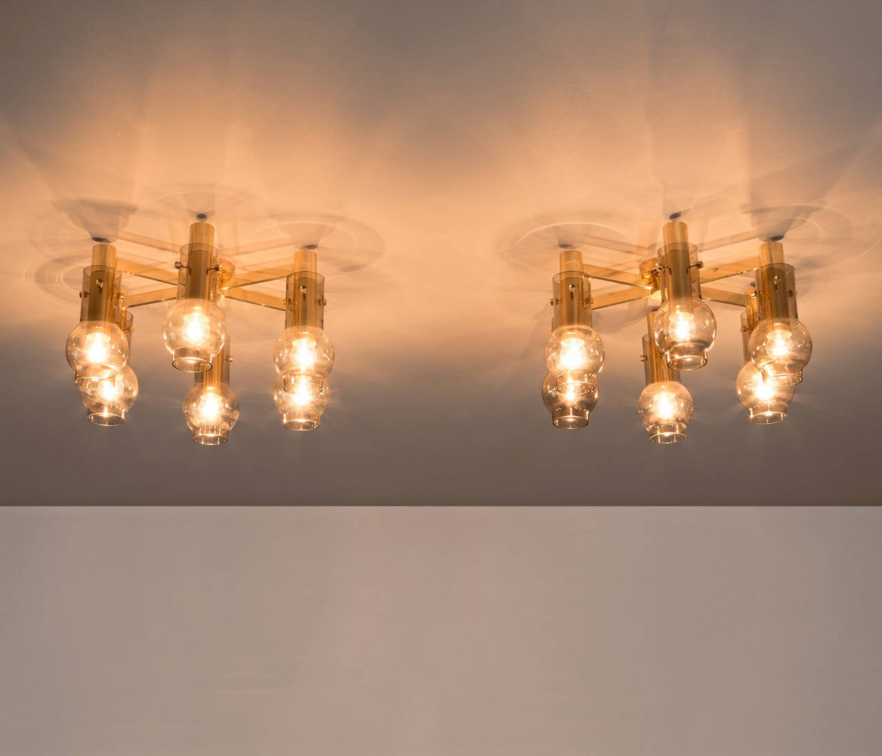 Set Of Two Swedish Brass Chandeliers With Smoked Glass Shades In The Manner Hans