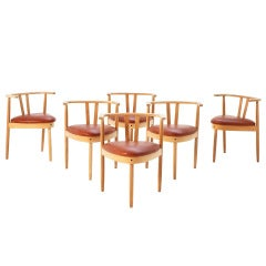Hans Olsen Set of Six Oak Dining Chairs