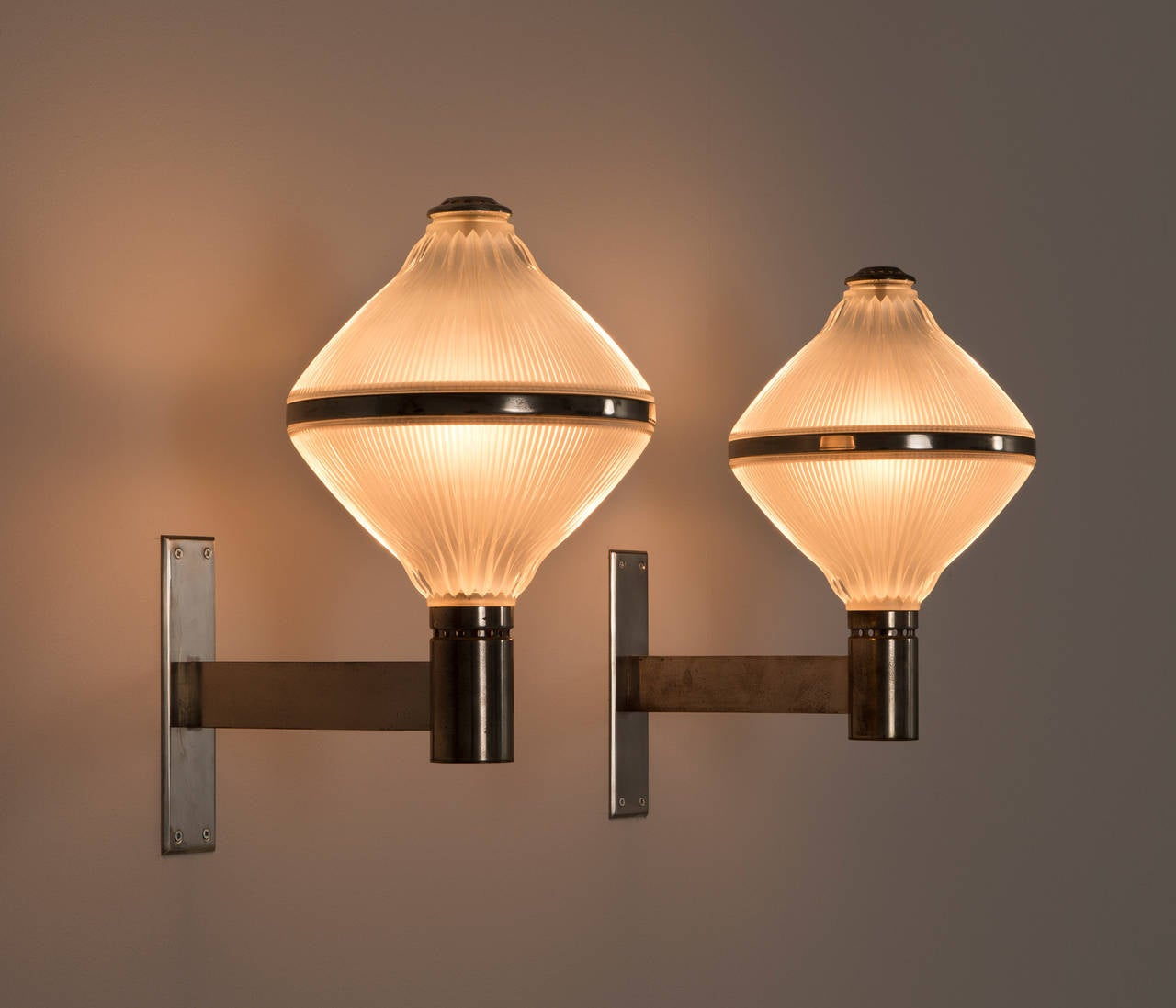 Set of Two Chrome and Opaline Wall Lights by Studio BBPR For Sale at ...