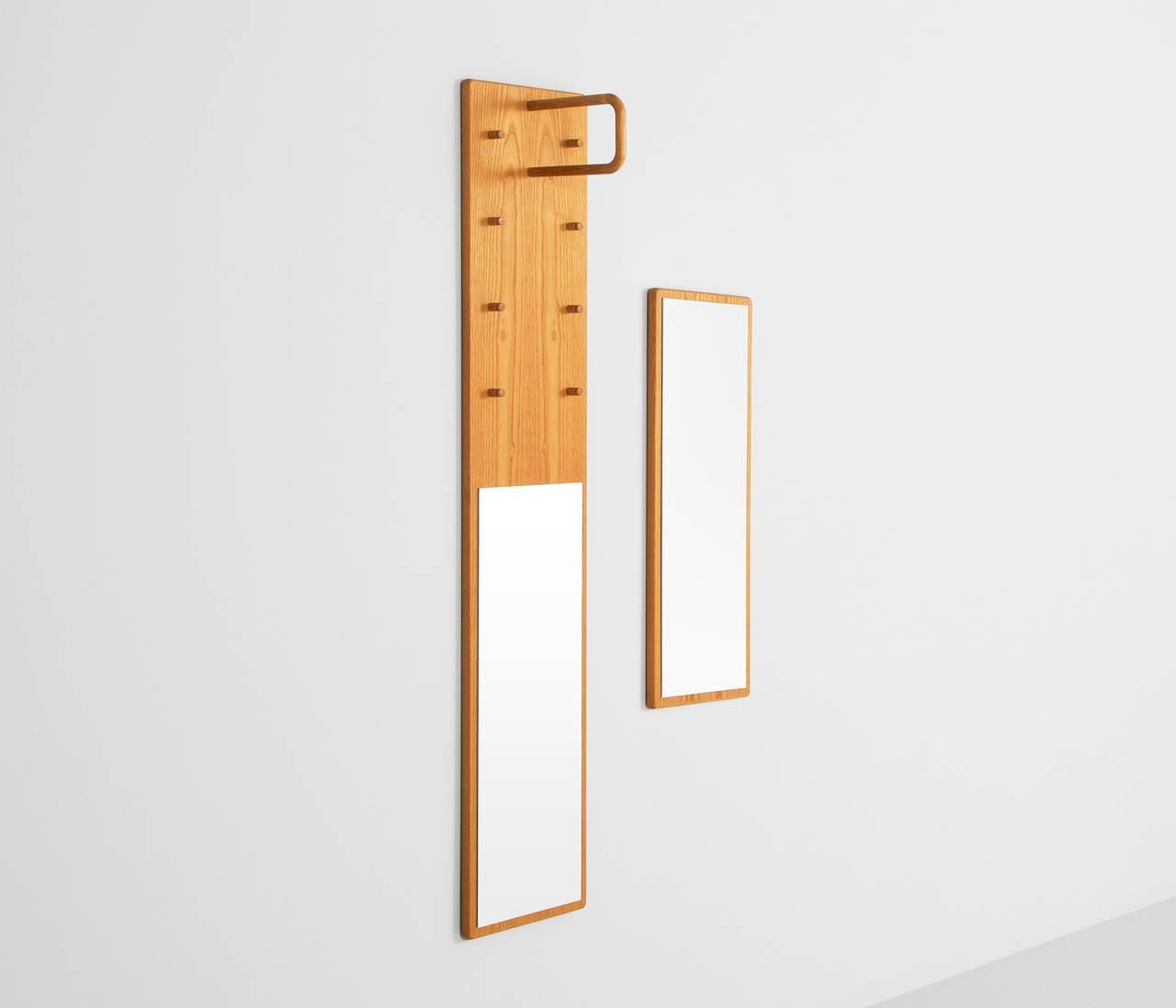 Set Of Two Swedish Rectangular Shaped Mirrors With Coat