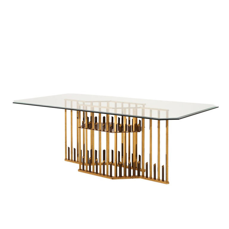 Exclusive Refined Brass And Glass Dining Table At 1stdibs