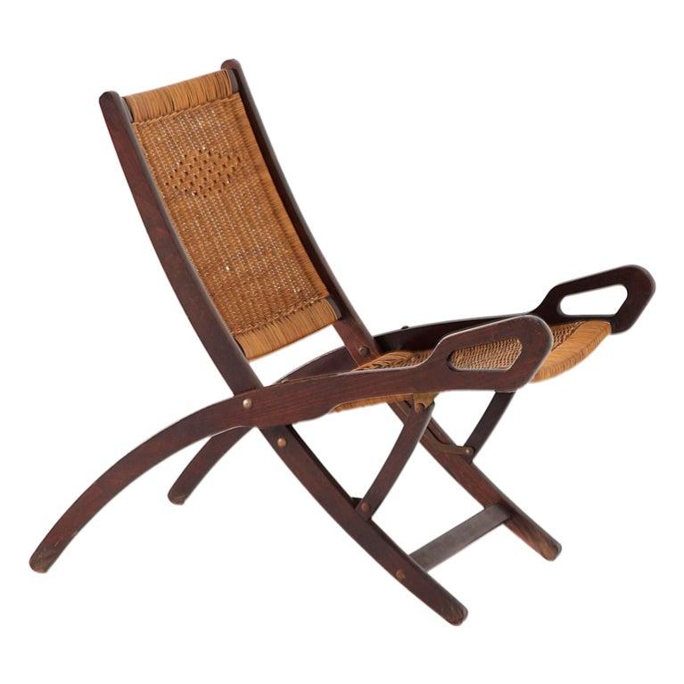 Gio Ponti Nifea Folding Chair Rare Woven Cane Seat At