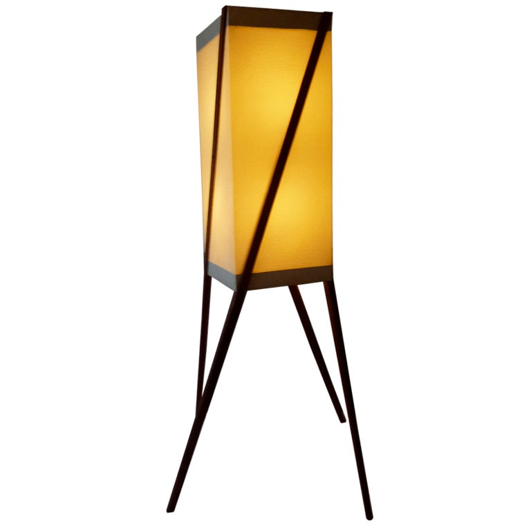 floor lamp in paper and teak in noguchi 39 style at 1stdibs