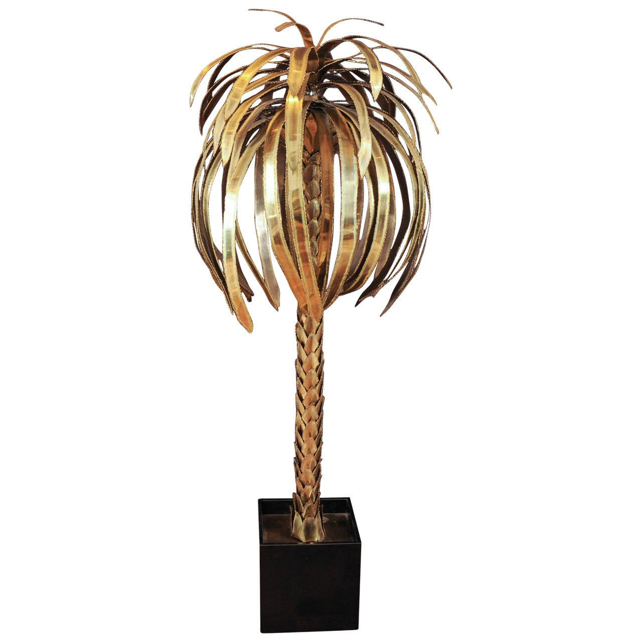 large 1960s maison jansen brass palm tree floor lamp at 1stdibs. Black Bedroom Furniture Sets. Home Design Ideas