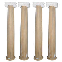 Set of 2 Ionic Wooden Columns with White Terracotta Capitals, 19th Century