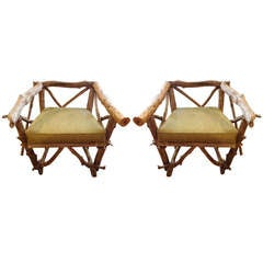 Pair of Vintage Adirondack Twig and Timber Chairs