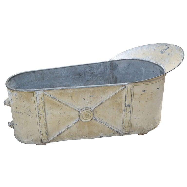 19th Century French Zinc Bathtub For Sale