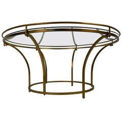 Round Brass Frame Coffee Table