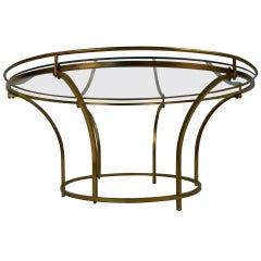 Mid-Century Round Brass Frame Coffee Table