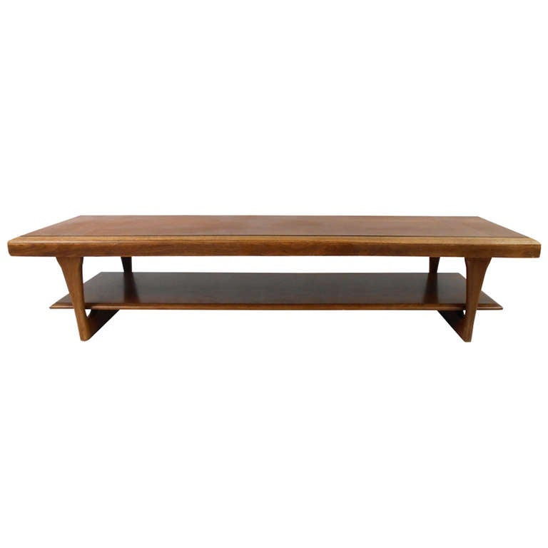 Lane Sliding Door Coffee Table: Lane Two-Tier Coffee Table For Sale At 1stdibs