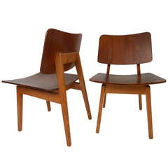 Early Jens Risom Signed Chairs