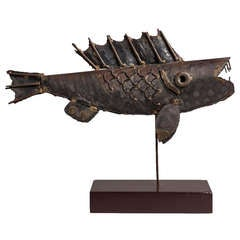 Brutalist Metal Fish Table Sculpture 1970s