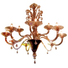 Pair Of Chandeliers With Twelve Arms In Clear Amethyst Blown Glass By Venini