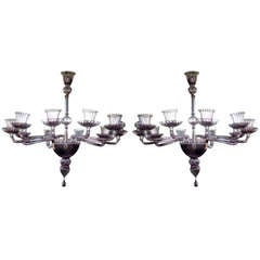 Pair Of 1970's Ten Arms Chandeliers By Venini