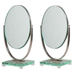 A Lucite and Brushed Steel Framed Vanity Mirror 1970s