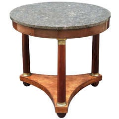 French Marble Top Table (Gueridon) in the Empire Style