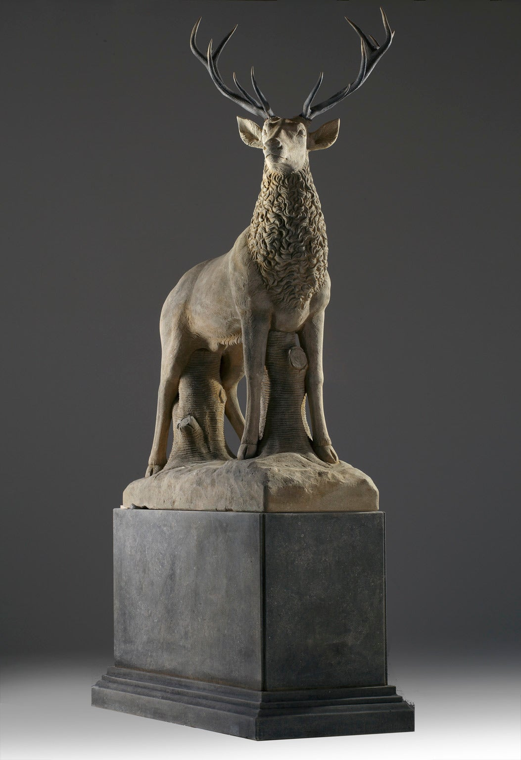 Italian Large Sculpted Limestone and Antler Mounted Model of a Stag For Sale
