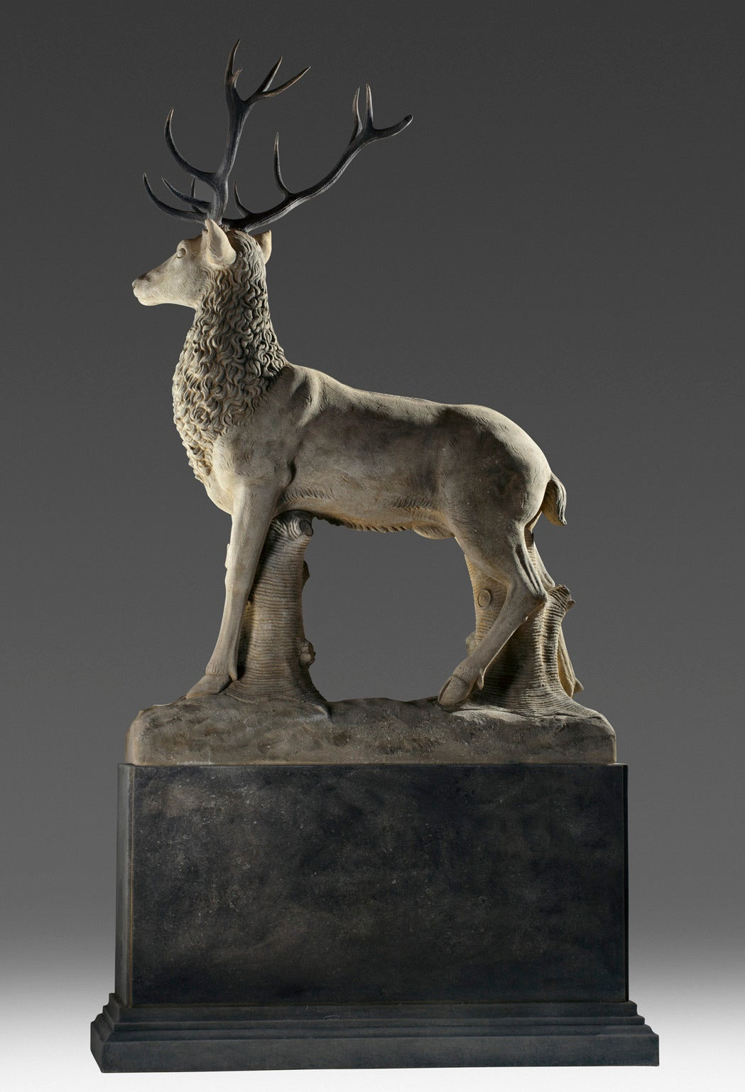 20th Century Large Sculpted Limestone and Antler Mounted Model of a Stag For Sale