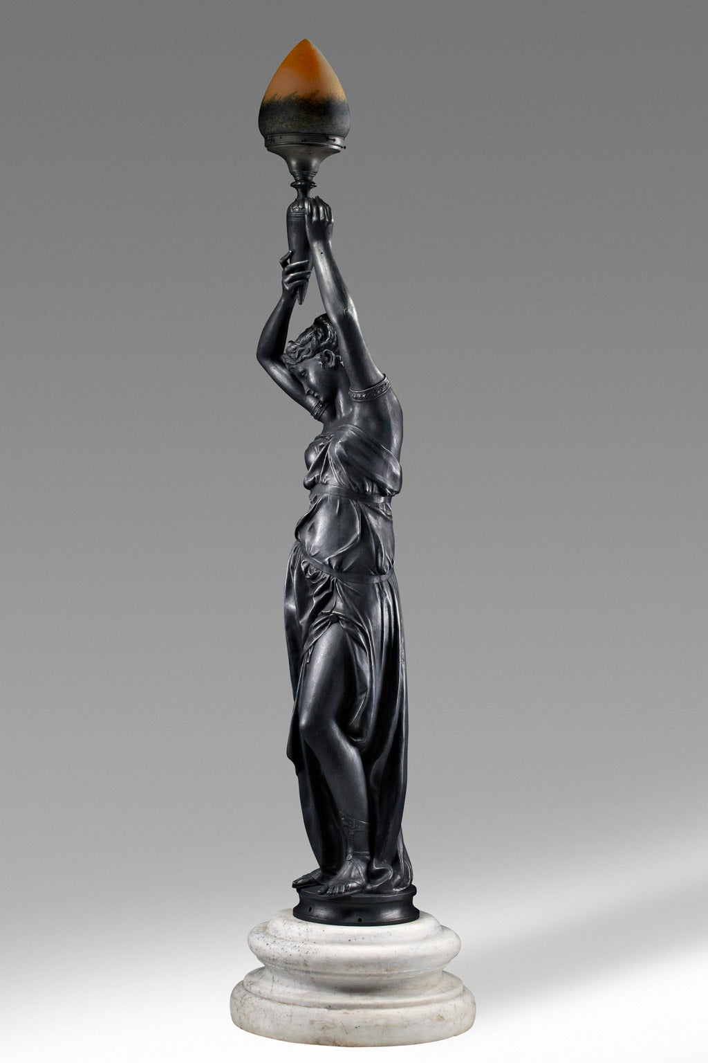 Art Nouveau Late 19th Century French Black Painted Cast Iron Figural Torchere For Sale