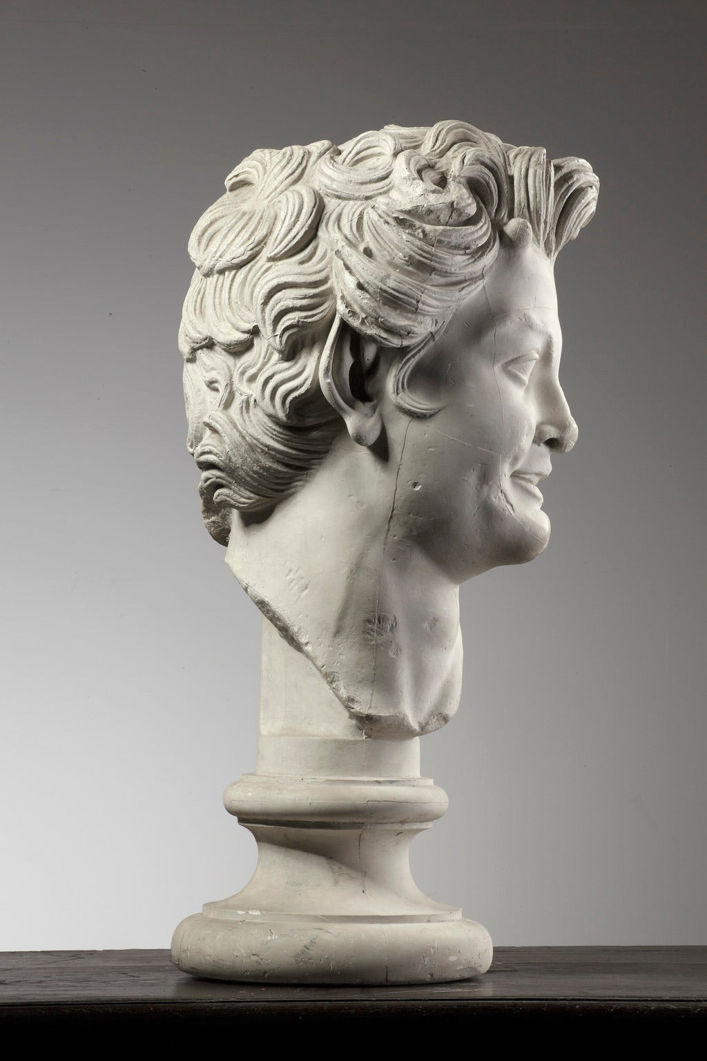 French Large Plaster Bust of a Young Man on a Socket For Sale