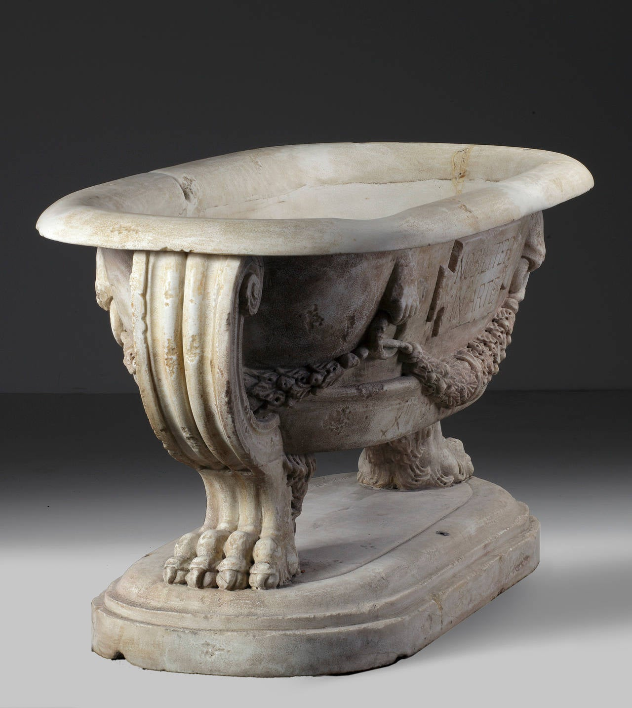 Classical Roman Sculpted Marble Planter in the Manner of a Roman Sarcophagus