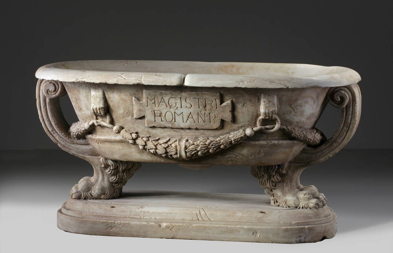 Sculpted Marble Planter in the Manner of a Roman Sarcophagus In Good Condition In Baambrugge, NL