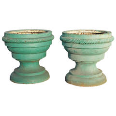 Pair of 18th Century Continental Green Painted Cast Iron Garden Urns