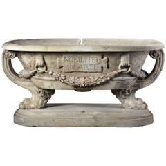 Sculpted Marble Planter in the Manner of a Roman Sarcophagus