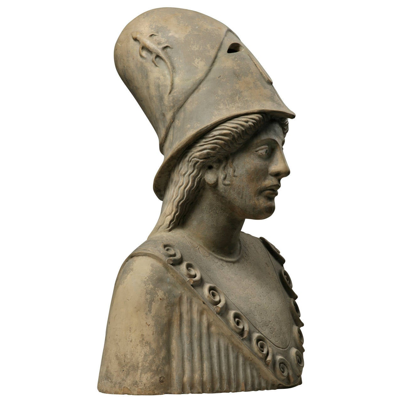 Continental Sculpted Terracotta Bust of Pallas Athena