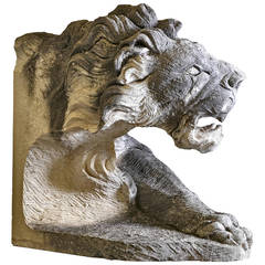 Sculpted Limestone Model of a Lion's Head and Torso