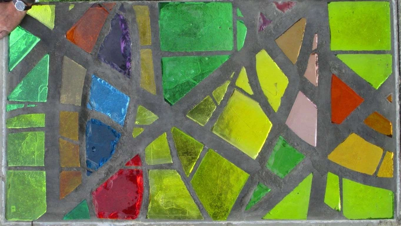 French A serie of 6 coloured glass-in-cement windows For Sale