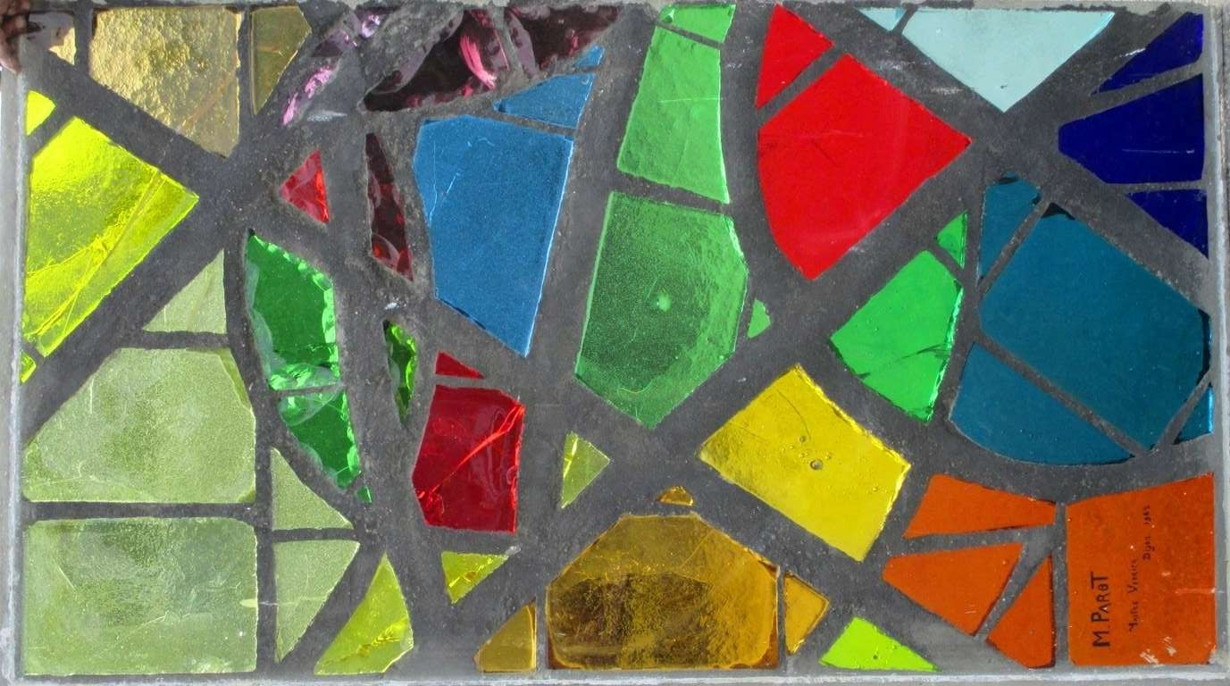 A serie of 6 coloured glass-in-cement windows For Sale 2