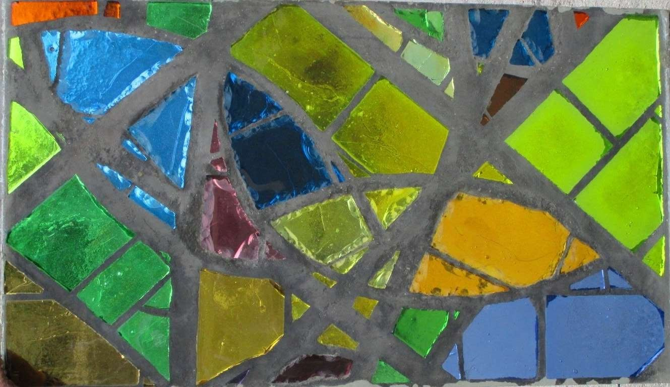 Mid-20th Century A serie of 6 coloured glass-in-cement windows For Sale