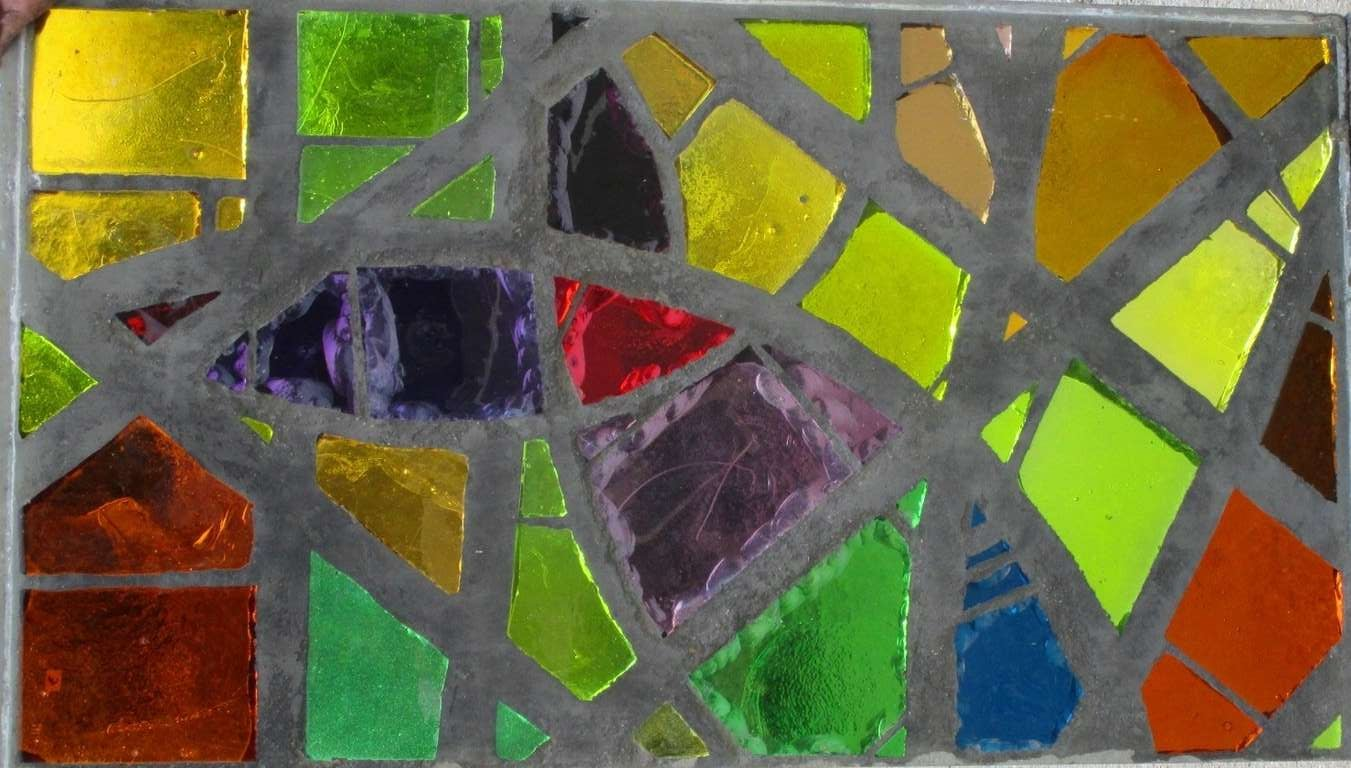 A serie of 6 coloured glass-in-cement monastery windows executed in 1962 for a Dyon monastery. Cast coloured glass, handcut into forms and shapes. Signed and dated. Marcel Parot, master glass maker, was a pupil of Felix and Pierre Gaudin.  He