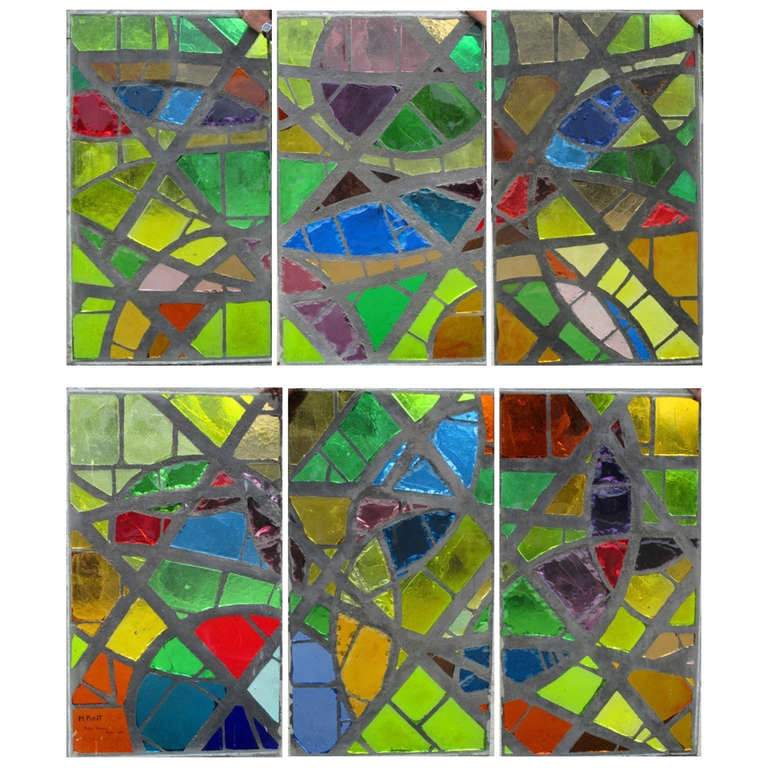 A serie of 6 coloured glass-in-cement windows For Sale