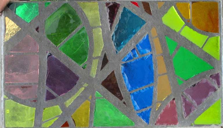A serie of 6 coloured glass-in-cement windows For Sale 3