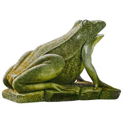 Continental Sculpted Limestone Model of a Frog on a Plinth