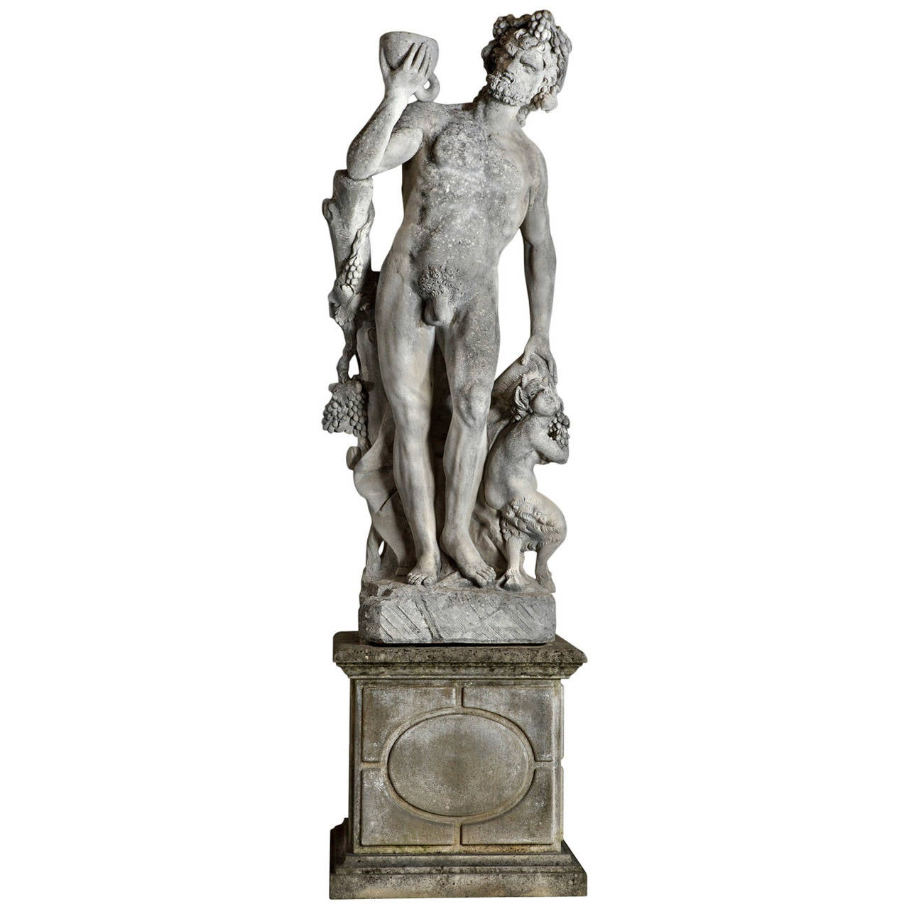 Monumental Italian Sculpted Limestone Group of Bacchus with a Satyr