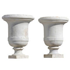 Pair of 19th Century Carved White Marble Garden Urns