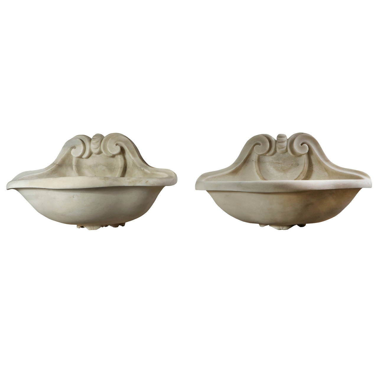 Pair of Carved White Marble Holy Water Stoops For Sale