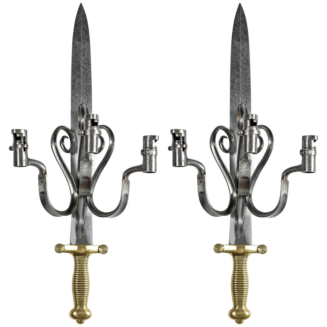 pair of sconces made of antique swords and bayonets 1