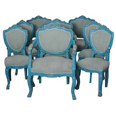 Set of 6 Antique Dining Chairs with Azure Blue Patina