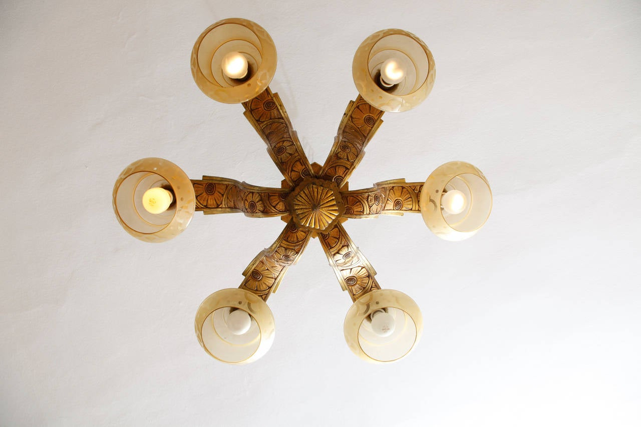 French Art Deco Chandelier By Henri Dieupart And Albert Simonet For Sale At 1stdibs