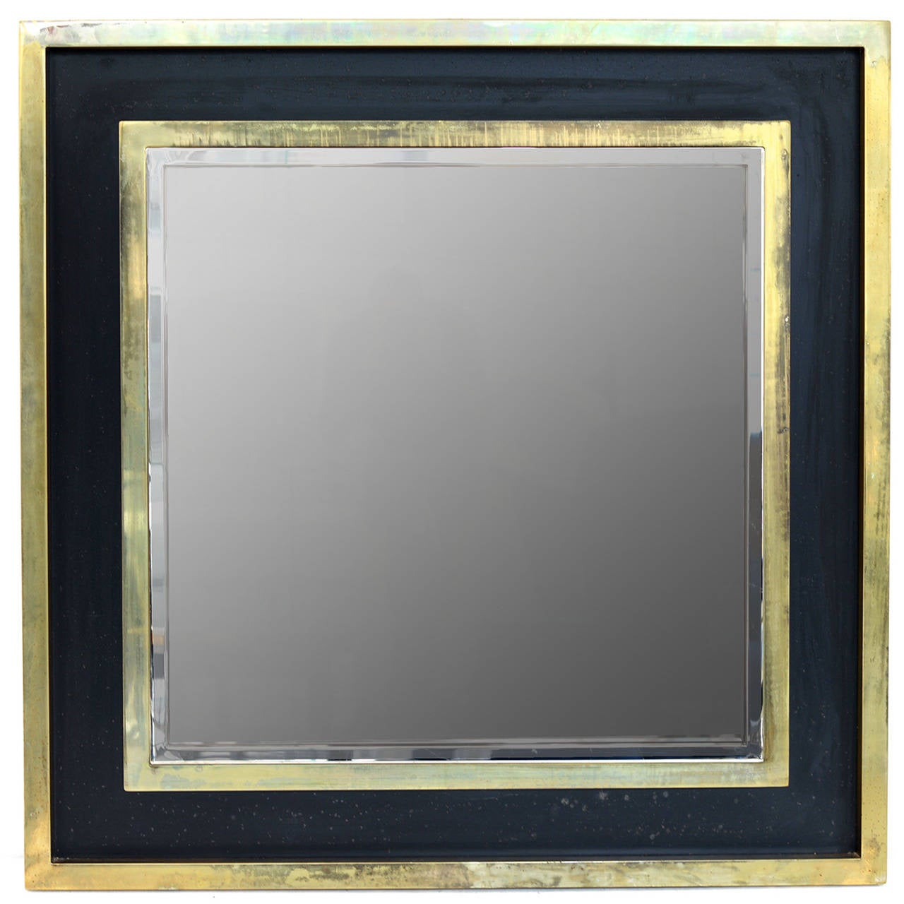 large square brass mirror by maison jansen at 1stdibs