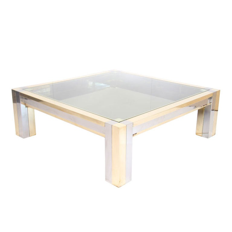 Mastercraft Brass And Chrome Coffeetable At 1stdibs