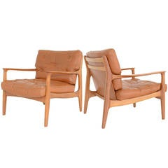 Pair of Cognac Leather Armchairs